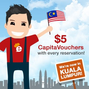We're now in KL too! To celebrate, here's $5 CapitaVoucher for your reservation!