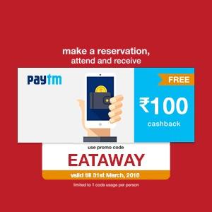 Get ₹100 Paytm cash on your reservation till 31st March, 2018!!