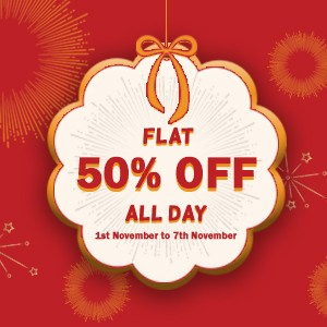 Flat 50% off all day!!