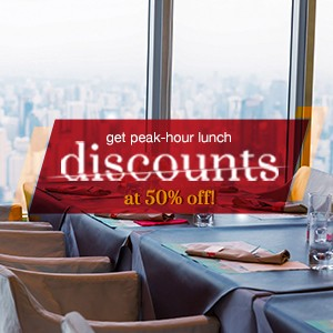 10 places with 50% off peak time lunch