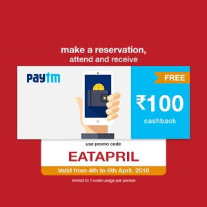 Get ₹100 Paytm cash on your reservation from 4th to 6th April!!
