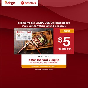 Get $5 cashback when you pay with an OCBC 365 Card for your reservation