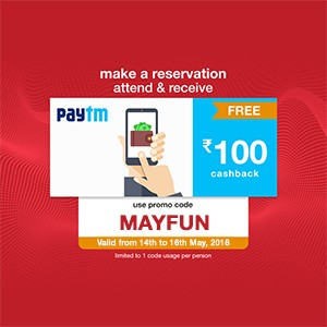 Get ₹100 Paytm voucher on your reservation from 14th to 16th May!!
